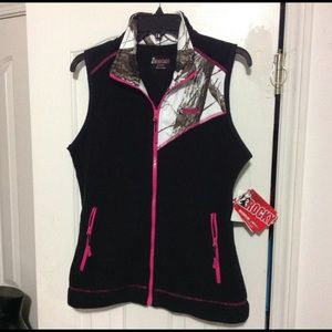 Rocky Womens Full Zip Fleece Vest Black Pink Camo